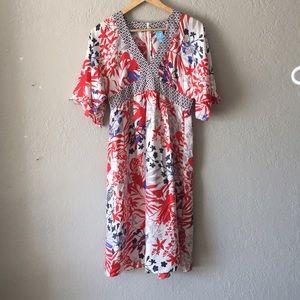 Barney's Co-Op Asian Print silk dress